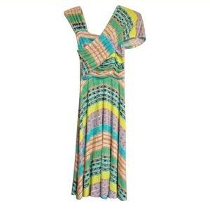 Plenty Shirred Shoulder multi color Dress P